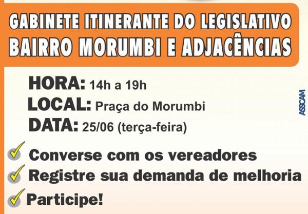 Bairro Morumbi é o próximo a receber o Gabinete Itinerante do Legislativo